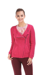 Asymmetrical Zipper Cabel Knit Sweater - Foushia - women vests & cardigans