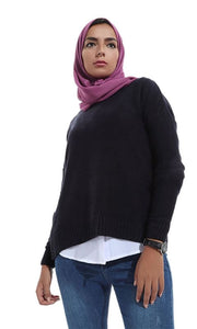 Back Cuts Comfy Women Pullover - Navy Blue - hijab style