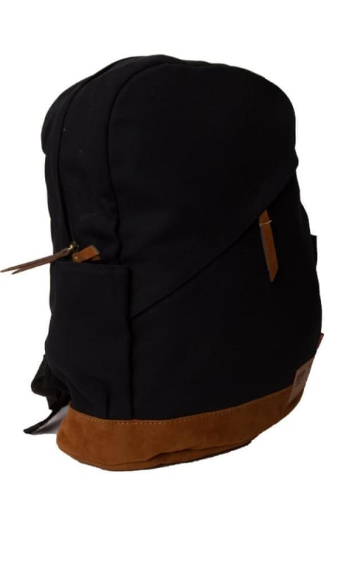 Bi Tone Solid Casual Backpack - Black & Brown - male bags