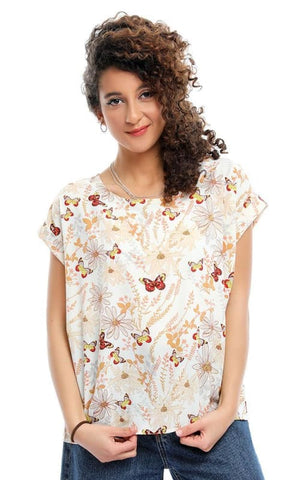 Butterflies Half Sleeves Dark Off White Casual Top - women shirts & blouses
