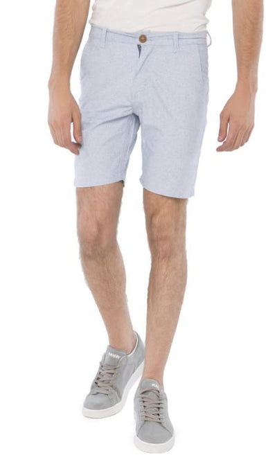 Buttoned Solid Short - Steal Blue - male shorts