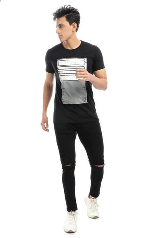 CairoKee Collection Bi-Tone Print Round Neck Slip On T-shirt - Black - male t-shirts