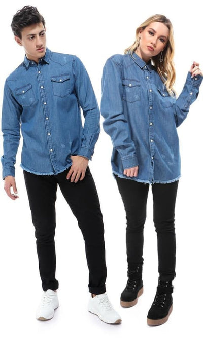 CairoKee Collection Blue Jeans Printed Back Cairokee Logo Jeans Shirt - male shirts