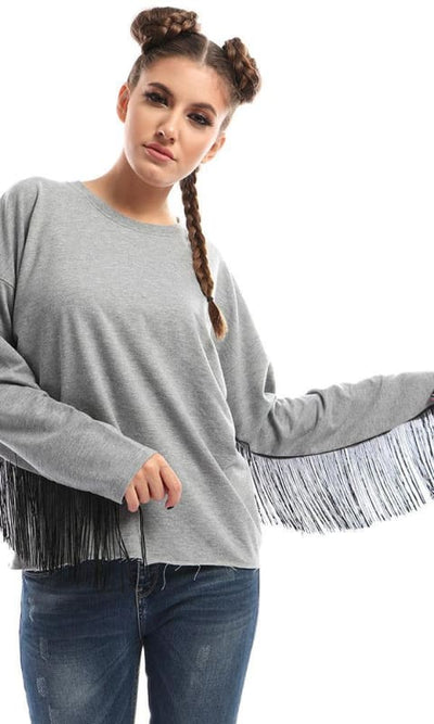 CairoKee Collection Casual Printed Grey Sweatshirt With Fringes Sleeves - women hoddies & sweatshirts