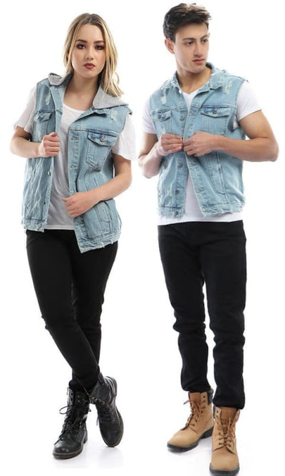 CairoKee Collection Cutted Denim Vest - Light Blue - male vest
