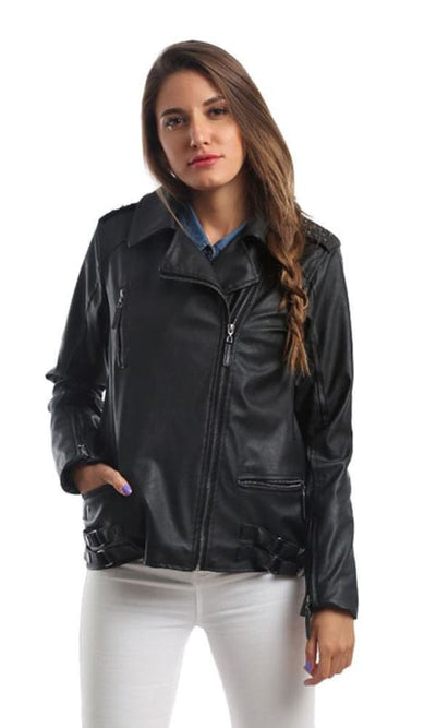 CairoKee Collection Elegant Strassed Leather Jacket - Black - women coats & jackets