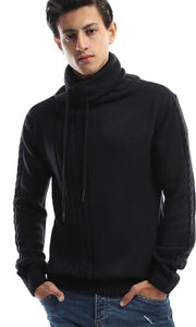 CairoKee Collection Folded Back Collar Navy Blue Pullover - male pullover