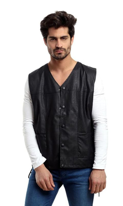 CairoKee Collection Leather Casual Vest - Black - male vest