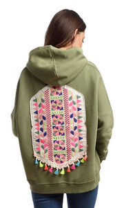 CairoKee Collection Patterned Back Sweatshirt - Olive - women hoddies & sweatshirts