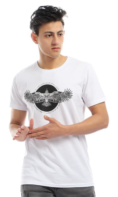 CairoKee Collection Printed Eagle Elegant Slip On White T-shirt - male t-shirts