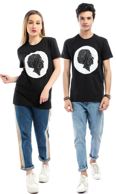 CairoKee Collection Printed Om Kalthoum Face Short Sleeves Black T-shirt - male t-shirts