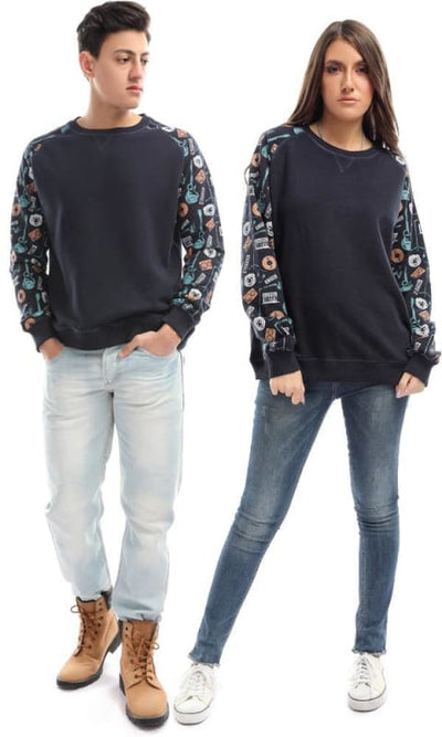 CairoKee Collection Printed Sleeves Sweatshirt - Navy Blue - male hoodies & sweatshirts