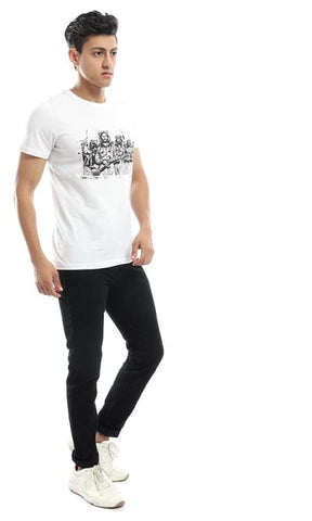 CairoKee Collection Structured Round Neck White Tee - male t-shirts