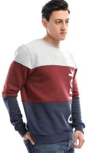 CairoKee Collection Tri-Tone Rounded Sweatshirt - Burgundy Grey & Navy Blue - male hoodies & sweatshirts