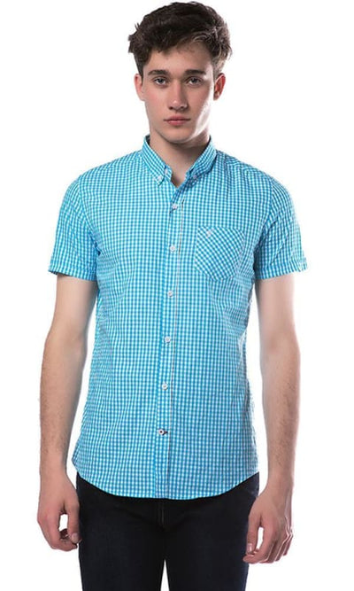 Checkered Shirt - Turquoise - male shirts