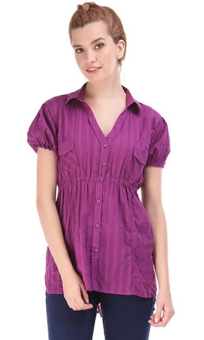 Chest Pocket Shirt - Purple - women shirts & blouses