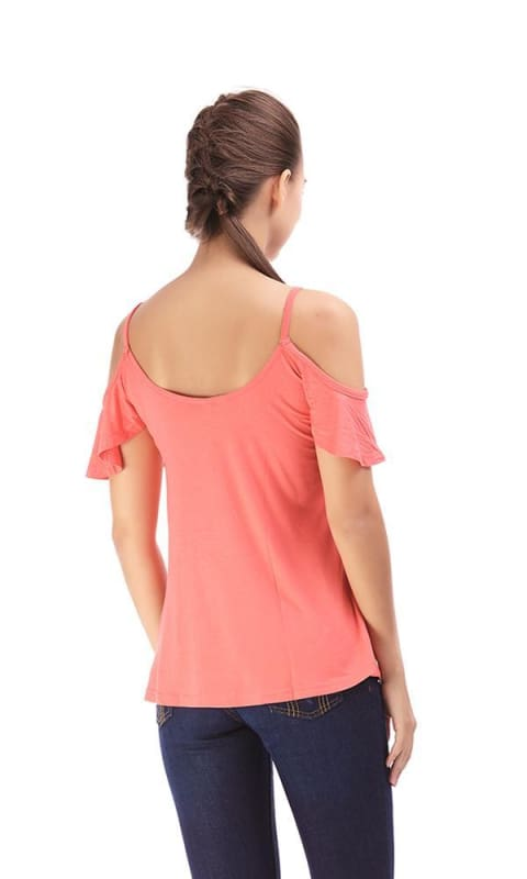 Cold Shoulder Top - Red - women t-shirts