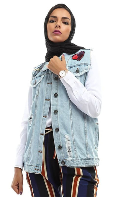 Decorated Casual Jeans Vest - Sky Blue - hijab style