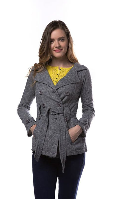 Double Breasted Knit Jacket - Belted Waist - Grey - women coats & jackets