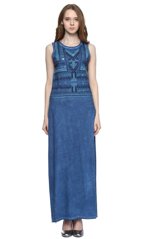Embellishment Longline Top - Blue - women tops