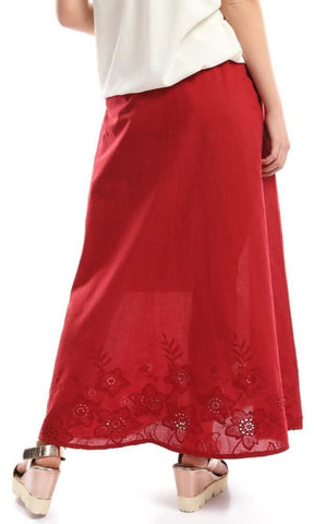 Embroidered Boho Maxi Burgundy Skirt - women skirts