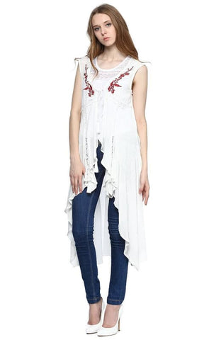 Embroidered Waterfall Vest - White - women vests & cardigans