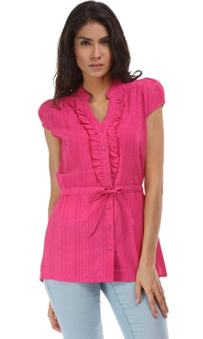 Fancy Solid Shirt - Fuchsia - women shirts & blouses