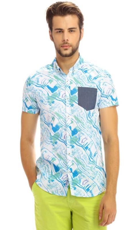 Fashionable Shirt - Blue - male shirts