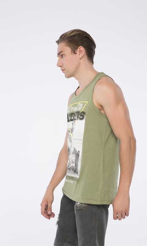 Fire Printed Tank Top - Olive - male tops
