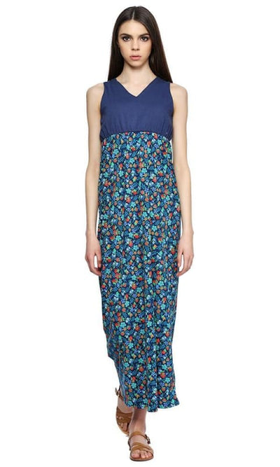 Floral Fashionable Dress - Navy Blue Turquoise & Green - women dresses