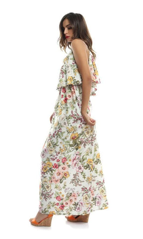 Floral Maxi Women Dress - Off White - women dresses