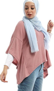 Floral Modern Shirt With Circular End Sleeves - Beige - hijab style