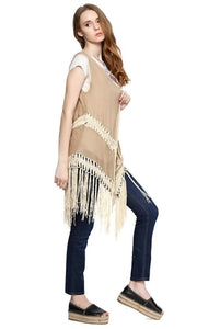 Fringed Sleeveless Vest - Coffee - women vests & cardigans