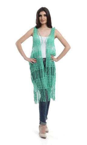 Fringes Crochet Soid Vest-Light-Fren-Green tests & settans