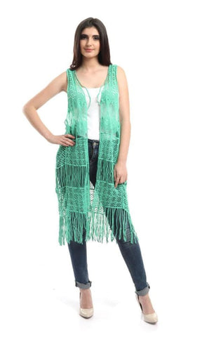 Fringes Crochet Solid Vest - Light Green - سترات وسترات نسائية