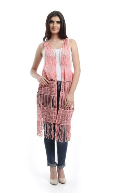Fringes Crochet Solid Vest - Pink - women vests & cardigans