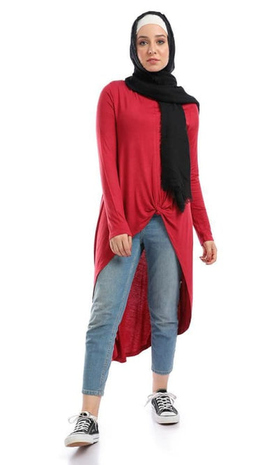 Front Bow Tie High Low Casual Solid Top - Wine Red - hijab style