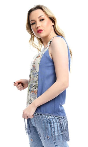 Front Floral Pattern Fringes Sleeveless Top - Steal Blue - women tops