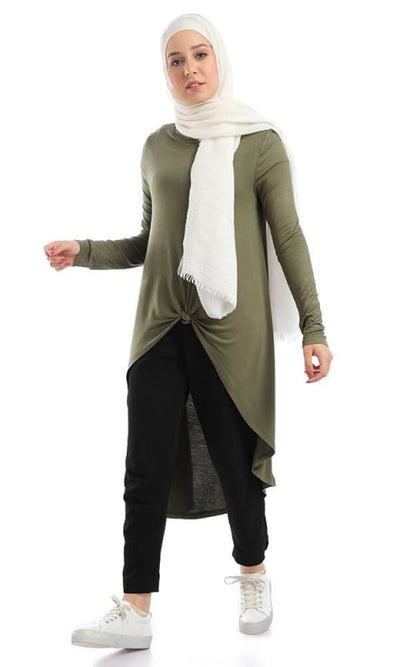 Front Rapped High Low Top Solid Olive Top - hijab style