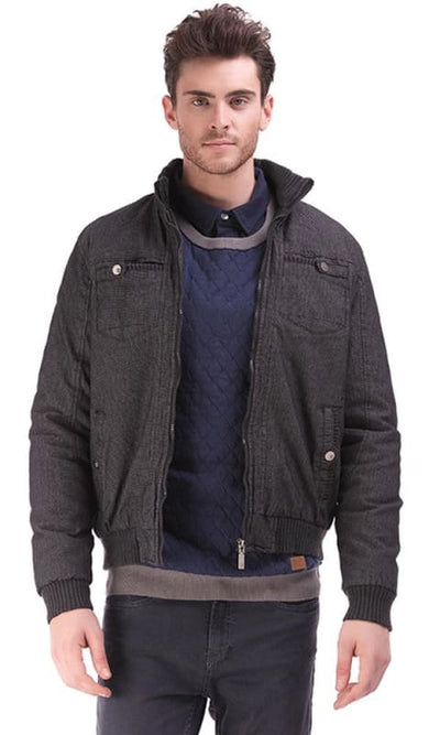 Gabardine Casual Jacket - Black - male coats & jackets