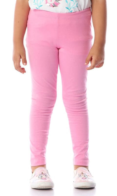 Girls Jersey Leggings Pink - girl trousers cotton