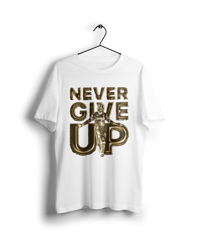 Golden Boy Mo Salah Never Give up - Digital Graphics Basic T-shirt White - NAV