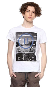 Graphic Print Heather T-Shirt - White - male t-shirts