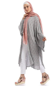 High Low Side Long Floral Cardigan - Multicolour - hijab style