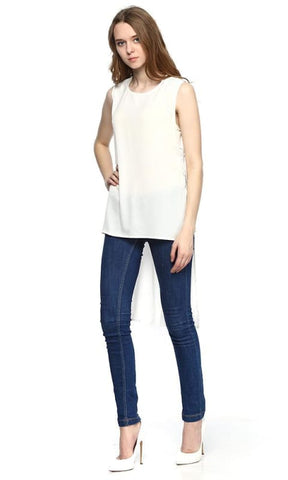 High Low Top - Off White - women tops