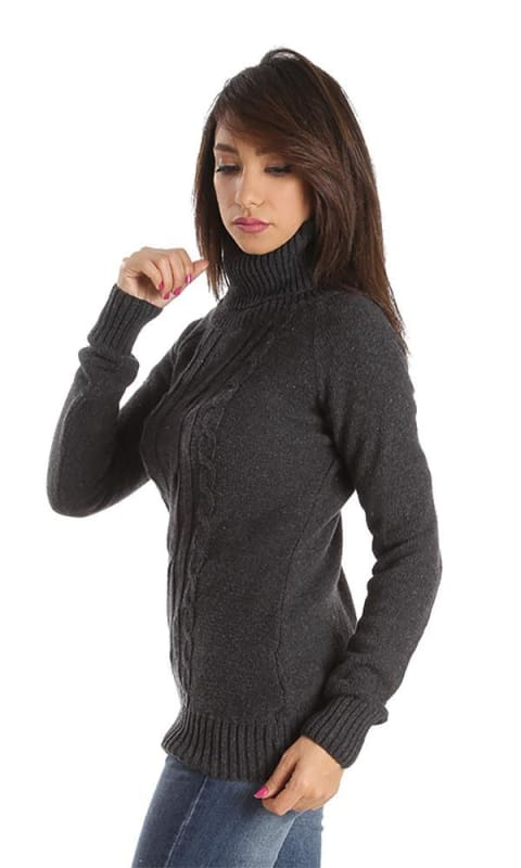 High Neck Pullover - Charcoal Grey - women pullover