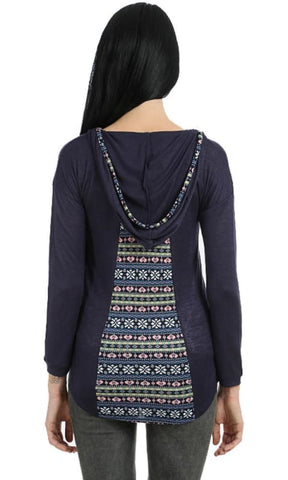 Hooded Round Neck T-Shirt - Navy Blue - women t-shirts