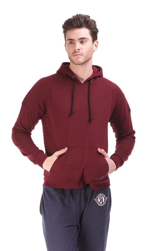 Hooded Sweatshirt - Burgundy - male hoodies & sweatshirts