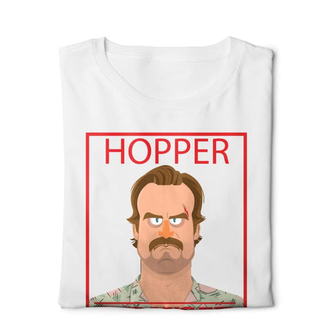 Hopper Stranger Things - Digital Graphics Basic T-shirt White - POD