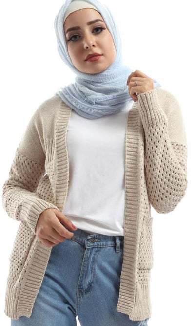 Just For You Beige Knit Breathable Cardigan - hijab style